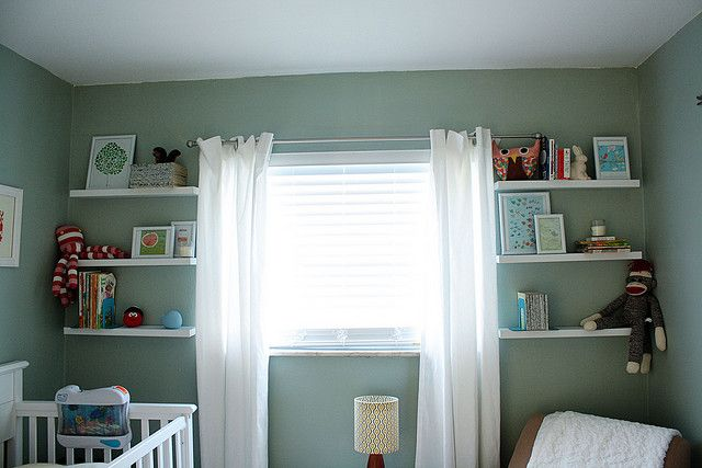 Love the shelves accenting the window