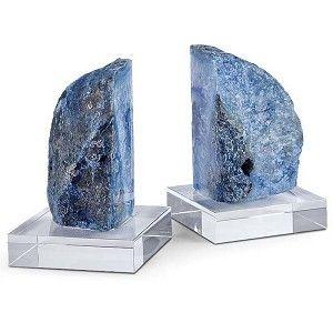 Geode Book Ends on Crystal -Teal