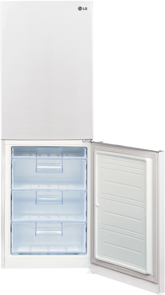 LG LBN10551SW 24 Inch Counter Depth Bottom-Freezer Refrigerator with Pocket Handles, Multi-Air Flow System, Door Alarm, 4 Freezer Drawers, Spillproof Glass Shelving, Digital Temperature Controls, LED Panels, SmartDiagnosis and 10.1 cu. ft. Capacity: Smooth White