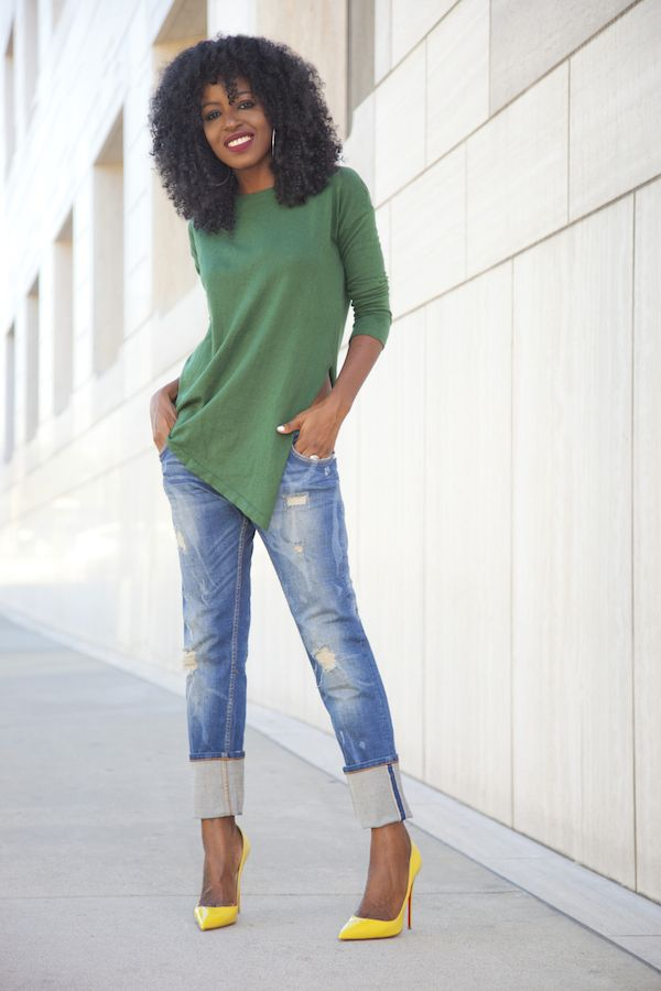 Asymmetric Top + Distressed Boyfriend Jeans                                                                                                                                                      More