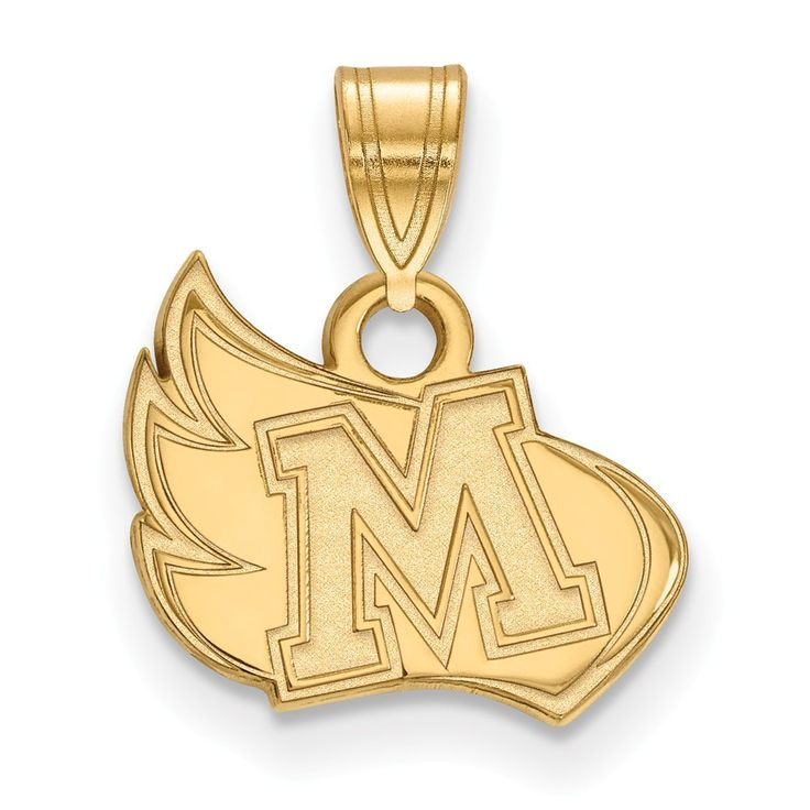 Sterling Silver w/GP LogoArt Meredith College Small Pendant
