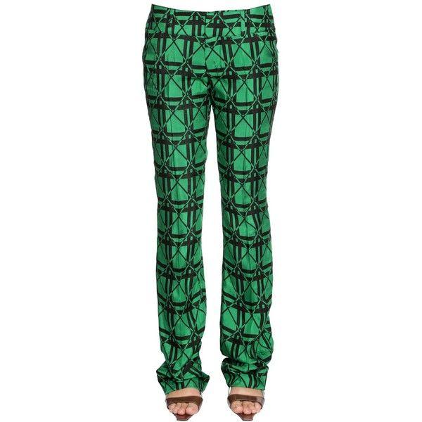 Marni Women Checked Jacquard Pants (17.850 ARS) ❤ liked on Polyvore featuring pants, jacquard pants, checked trousers, checkered pants, green pants and marni pants