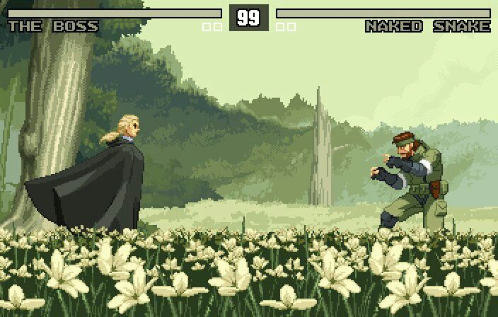 32-bit Metal Gear Solid 3 The Boss vs. Naked Snake fight.