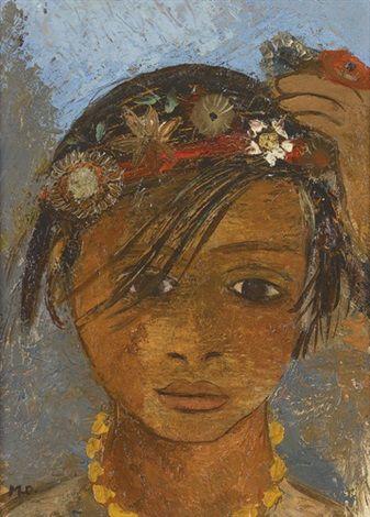 Mädchen mit Blumenband im Haar by Margherita Osswald-Toppi