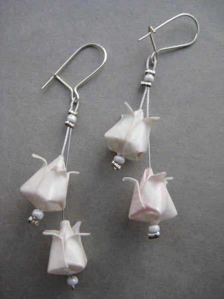 Boucles d'oreilles Origami Boucles d'oreilles Double lotus blanc
