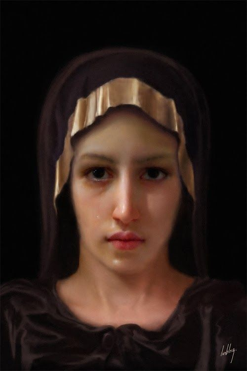 A forensic artist's interpretation of the Blessed Virgin's face, based on the image of our Lord on the Shroud of Turin