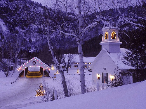 Christmas in the country....beautiful!Christmas Village, Winter Scene, New England, Christmas Scene, Winter Wonderland, Country Christmas, Covers Bridges, New Hampshire