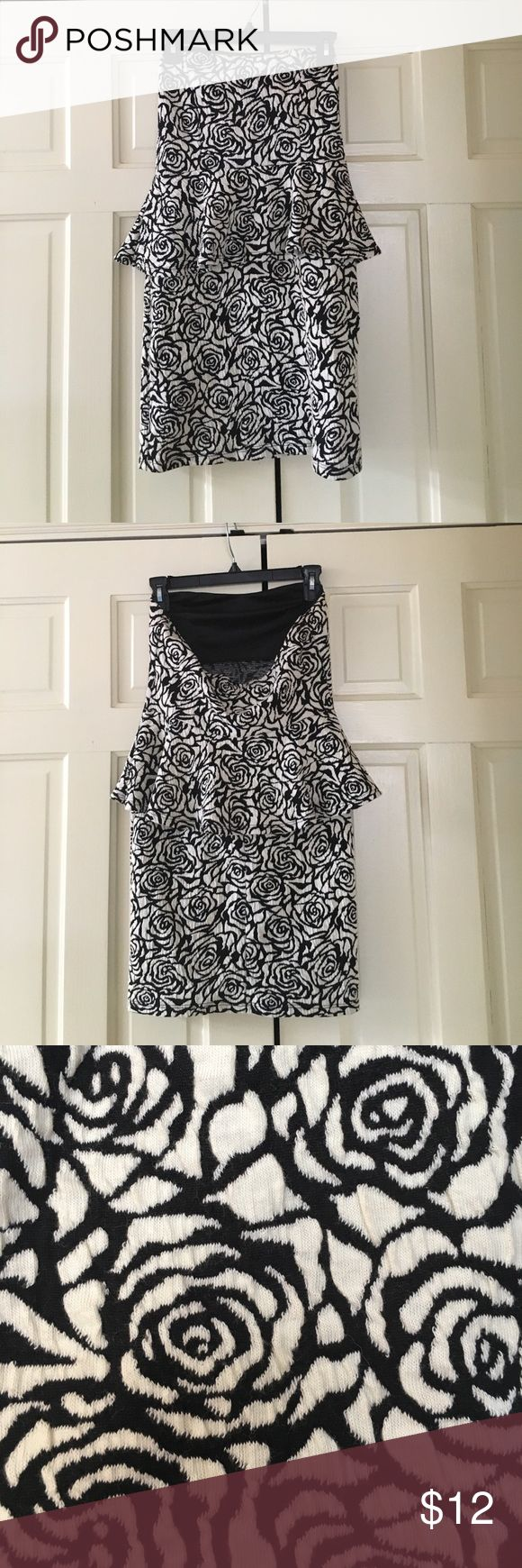 Black and White Rose Peplum Dress Got this fun dress from a boutique. Only worn once. Built in cammy bra. Looks great for any occasion! Dresses Mini