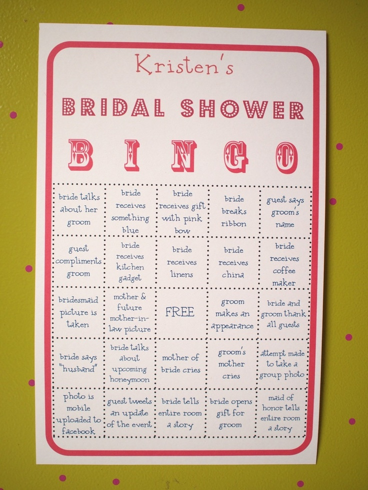 Bridal Shower Party BINGO Game - Customized, super fun ...