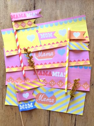 Mothers Day free printable can labels and flags by Happythought!
