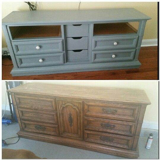 Before and after dresser turned into tv entertainment center