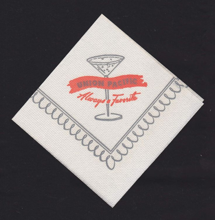 Union Pacific Railroad Vintage Graphic Advertising Cocktail Drink Bar Napkin