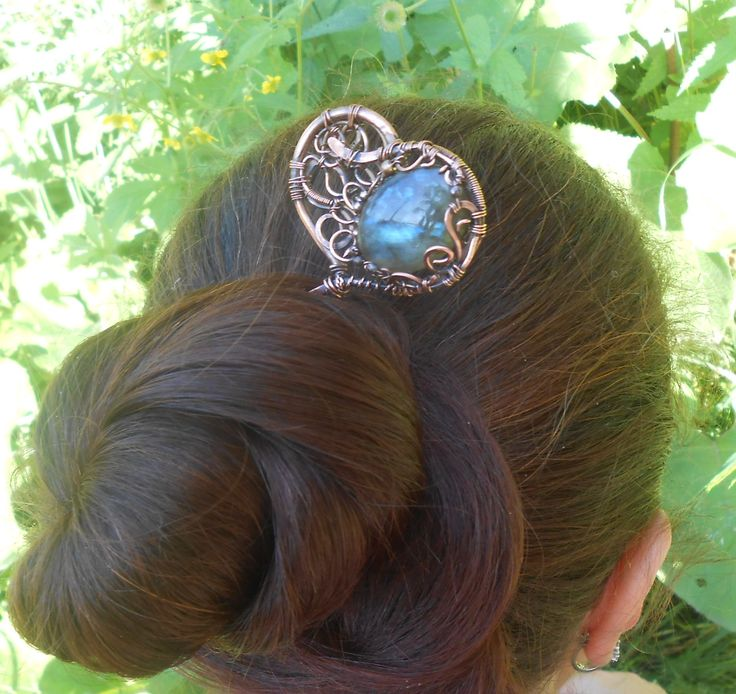 Large copper hairpin heart hairwith rainbow labradorite in the