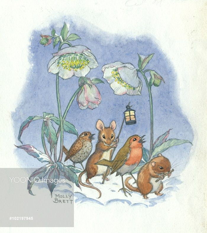 A procession of mice and robins through the snow. - Illustration by Molly Brett.