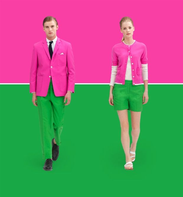 Boys and girls in pink and green.