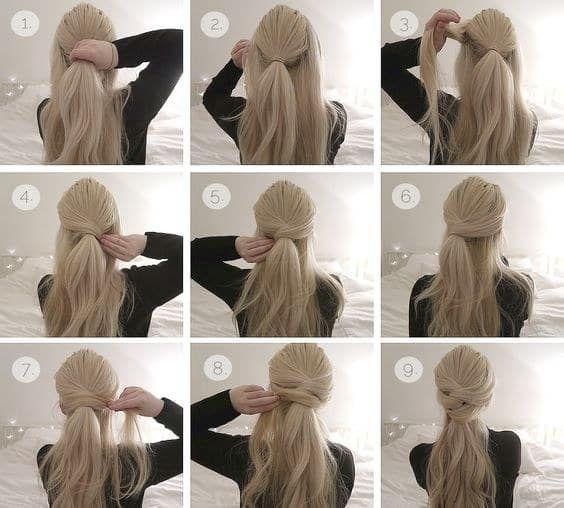 Si quieres algo práctico, pero no tan informal, y tienes mucho cabello, usa este peinado. Lo primero que tienes que hacerte es una media cola dejando mechones al frente, luego ir tomándolos (empezando por los de arriba) y pasarlos por encima de la coleta. Sujeta con bastantes pasadores para aguantar todo el día.