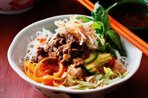 Check out Vietnamese lemongrass beef noodle salad. It's so ...
