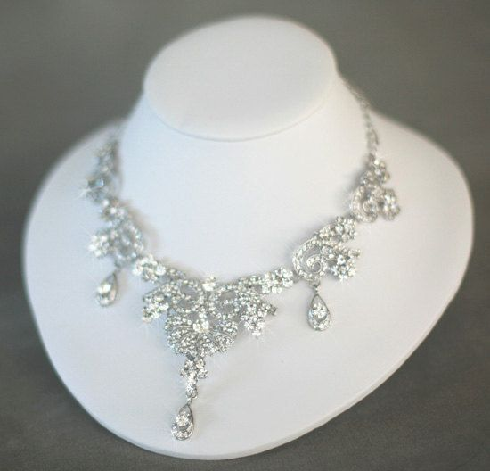 Bridal Necklace - Wedding Jewelry - bridal Accessory - Rhinestone Bridal Necklace - Vintage style Crystal Necklace - Statement necklace. $129.00, via Etsy.