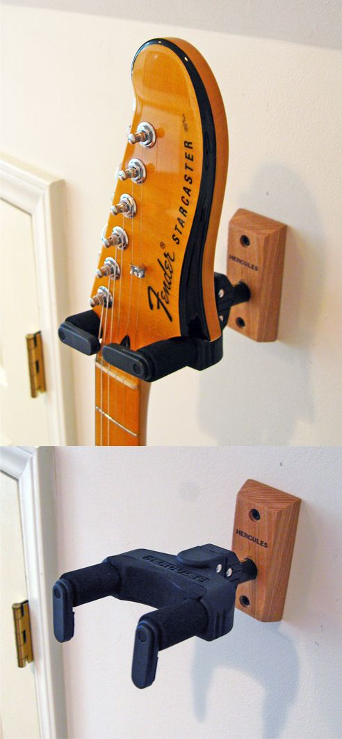 this is the hercules gsp38wb mountable guitar wall hanger with wood base and auto grip system