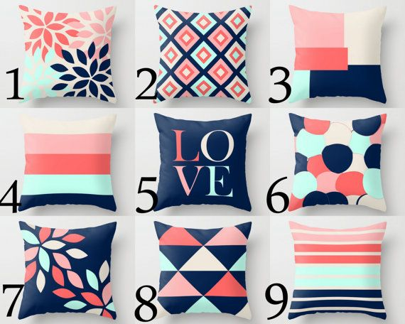 Throw Pillow Cover designs in coral, navy, beige, aqua sky, and blush.  Individually cut and sewn by hand, features a 2 sided print and is
