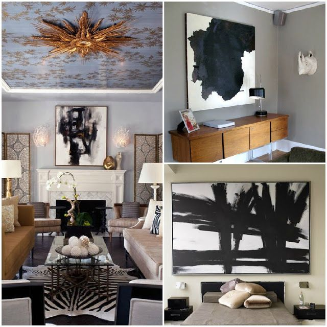 A touch of luxe black and white abstract art diy