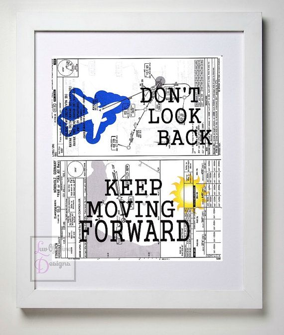 Coworker Gift Idea, Aviation Chart, Don't Look Back Keep Moving Forward, Airplane Art, Pilot Gift, Motivational Print by LuvOfMineDesigns
