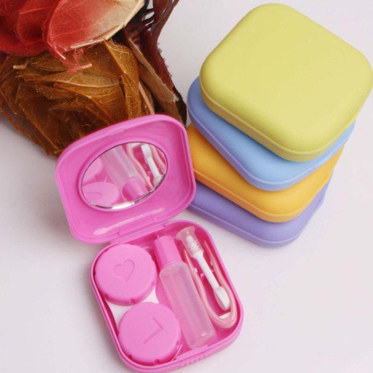 1X Bolsillo Mini Contact Lens Case Kit de Viaje Fácil de Llevar Espejo Titular de Contenedores