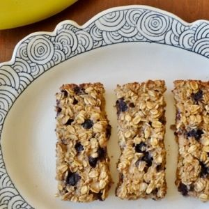 Baked Blueberry Banana Oatmeal Bars- gluten free, no sugar added, sweetened with ripe bananas :)