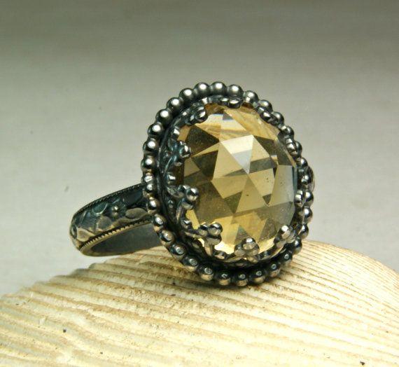 Geoxideerd zilver Citrien Ring, Cocktail Ring, Faceted Gemstone, Sterling sieraden, Victoriaanse stijl, aangepast formaat