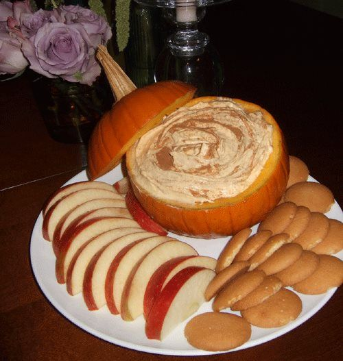 FALL DIP (Cool Whip, vanilla pudding mix, and a can of pumpkin)  1 – 15 oz can of pumpkin 1- 5 oz box of instant vanilla pudding 1-16 oz container of cool whip 1 – small pumpkin 1/2 tbsp pumpkin pie spice 1/2 tbsp cinnamon  Mix it all together and chill for several hours. Put the dip in the pumpkin and sprinkle with cinnamon. Serve with apples, Nilla wafers or graham crackers.