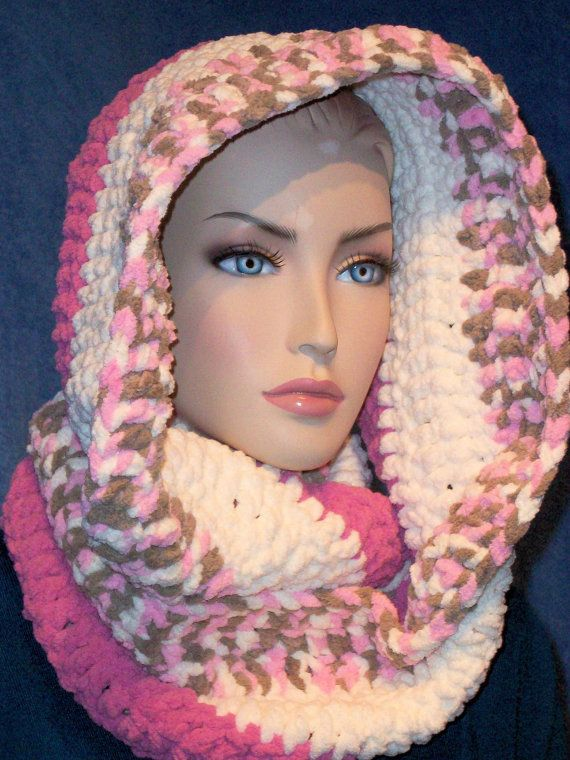 Hey, I found this really awesome Etsy listing at https://www.etsy.com/listing/191442910/pink-crochet-infinity-scarf-white