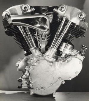 "knucklehead: 1936-1947  On the eve of WW2, Harley-Davidson® introduced an overhead- valve V-twin® with ""knuckly"" covers on the valves.  Overhead valve EL-61cu 40hp  Side valve-80cu  drool..."