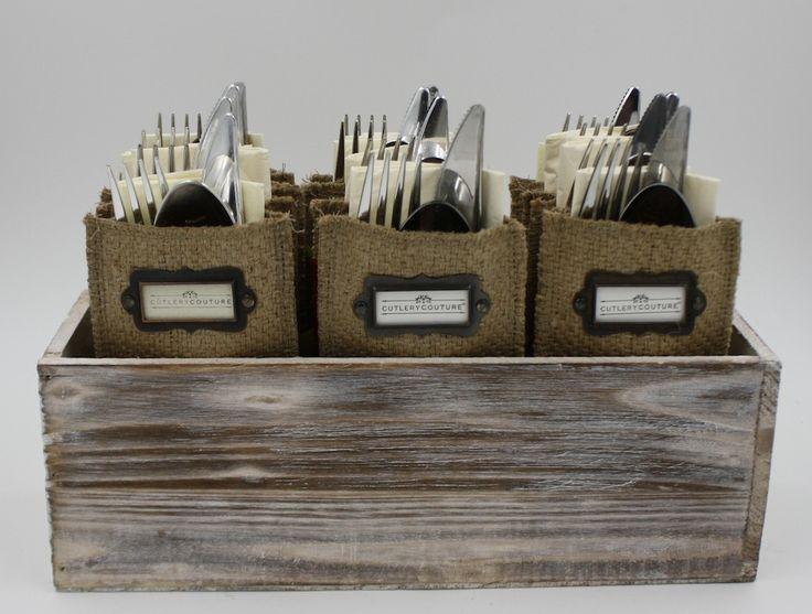 12 reusable boutique silverware pouches in a neutral buffet box
