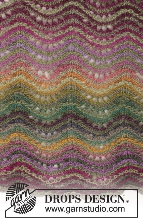 Knitted DROPS shawl with wave pattern and stripes in ...