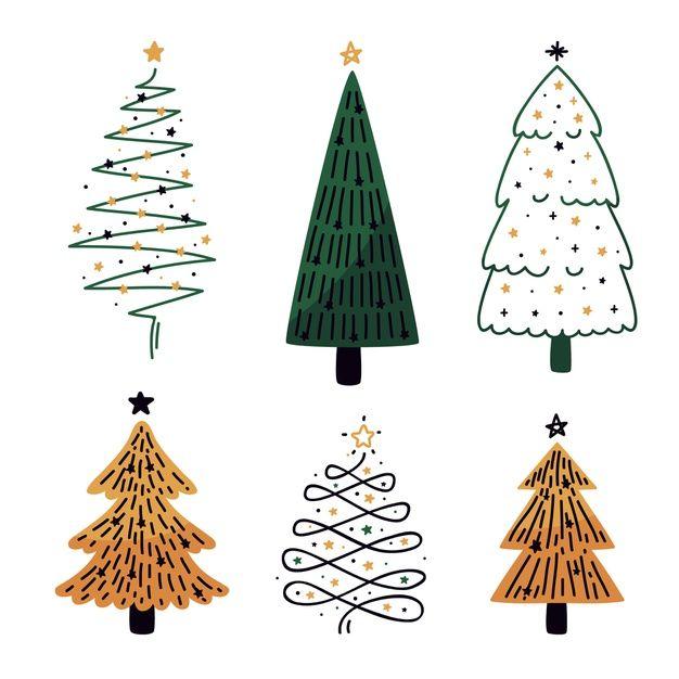 Download Flat Design Christmas Tree Collection For Free Ne Imeyushij Vektora Risunki Karakuli Rozhdestvenskie Illyustracii