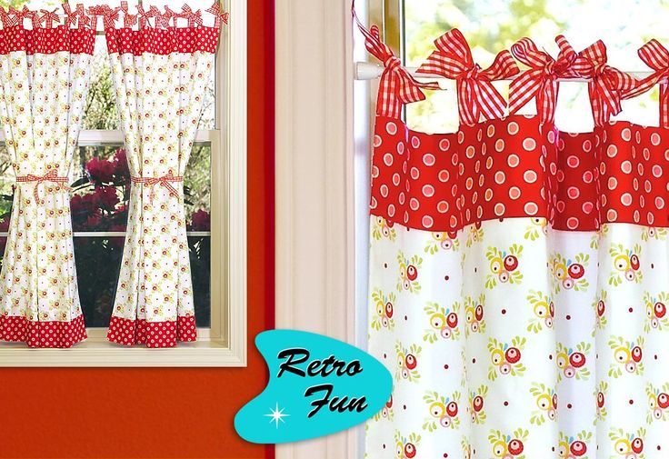 DIY retro curtains http://sew4home.com/projects/window-treatments/585-retro-fun-cafe-curtains-with-gingham-bows