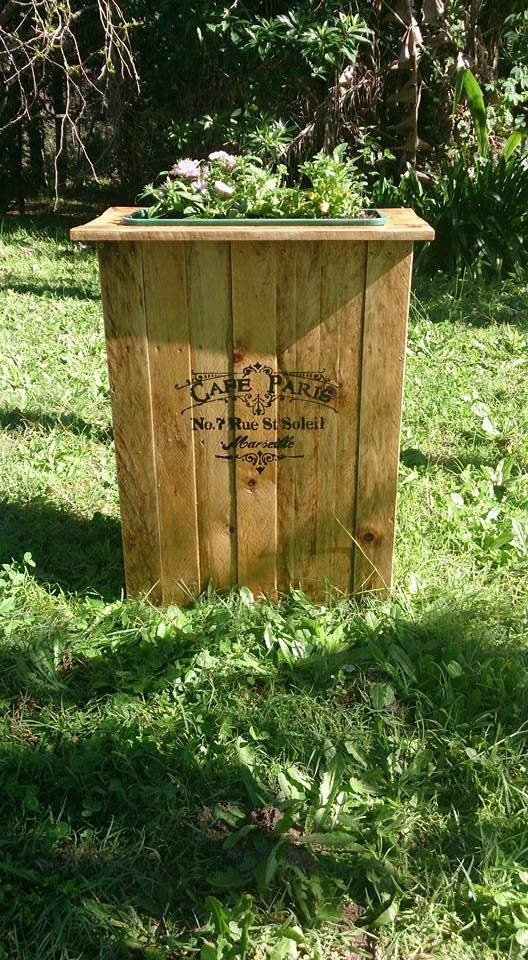 Planter box made from discarded pallet timber.