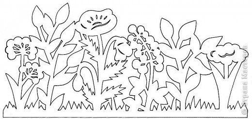 Paper cutting template. Flower garden.