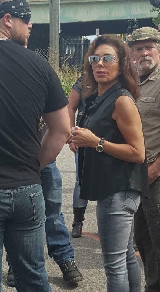 Judge Jeanine Pirro with one of the Bikers for Trump