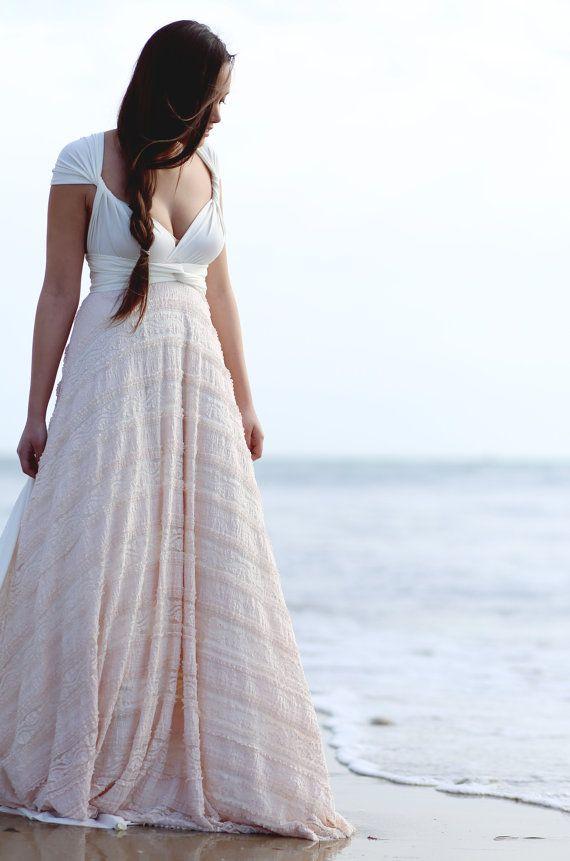 Peach Dainty Ruffle Long Infinity Wrap Dress by CoralieBeatrix