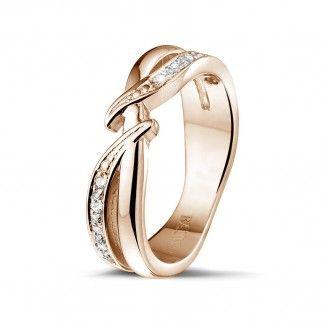 Roodgouden Diamanten Verlovingsringen - 0.11 caraat diamanten ring in rood goud
