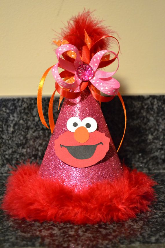 Elmo Birthday Party Hat Girl Custom by MonicaDawnDesigns on Etsy, $18.99