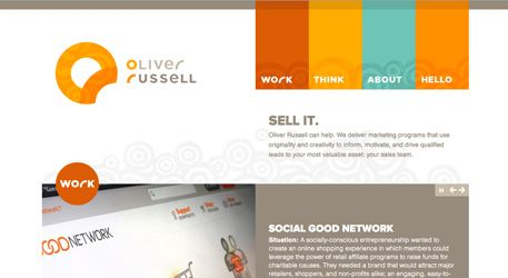 http://oliverrussell.com/    One of the best website designs I've seen. In my life. So perfect. Minimal content, fantastic colors, perfect type. Love, love, love!