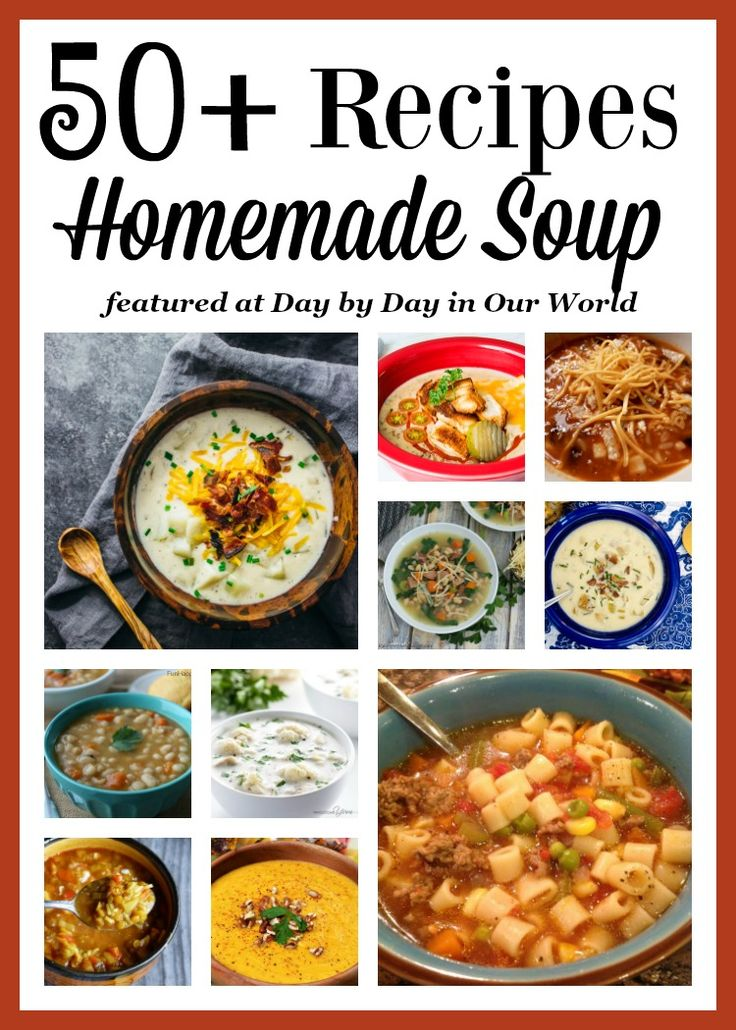 Love a good soup? Want to expand your culinary horizons? Check out these 50 + soup recipes for inspiration. You could make one a day for the next year and never repeat! Homemade soup | Dinner ideas | Crock Pot | Pressure Cooking