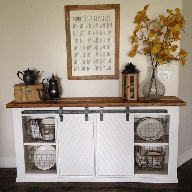 DIY white buffet sliding door console project tutorial. Build your own kitchen storage using this simple and free building plan from Ana White.