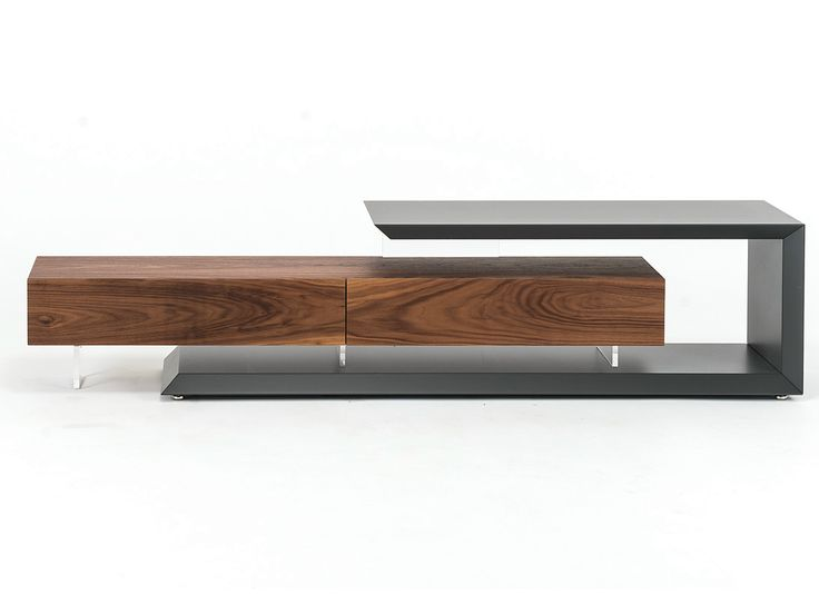 Low walnut TV cabinet LINK by Cattelan Italia design Paolo Cattelan