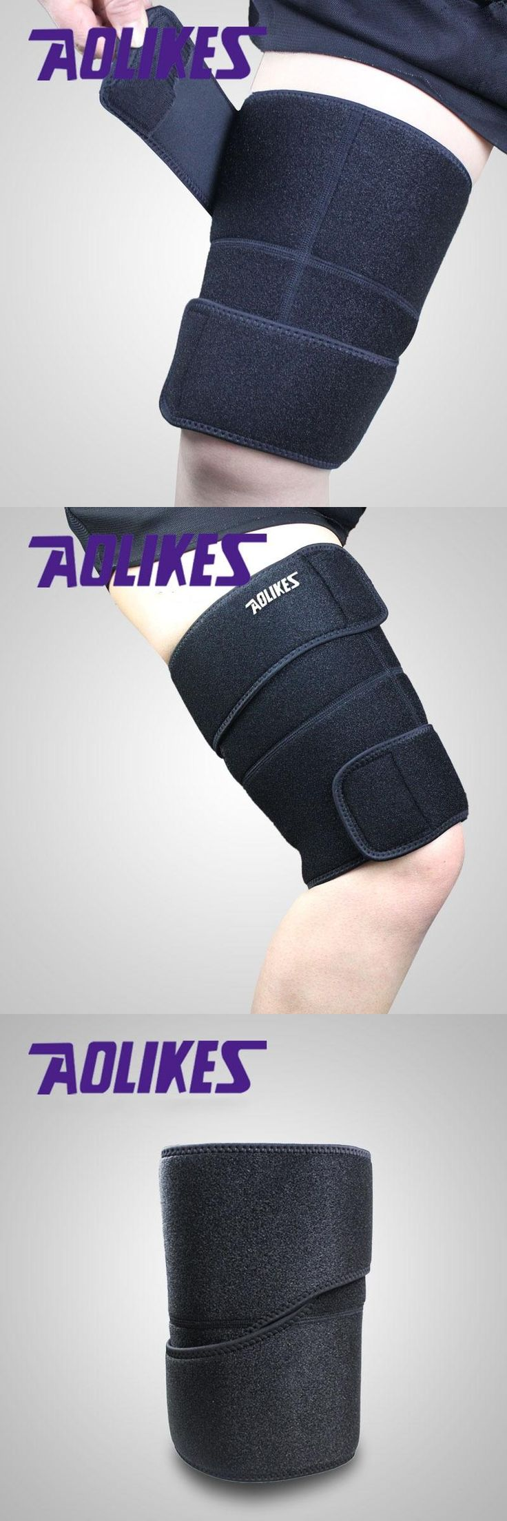 [Visit to Buy] 1 piece AOLIKES sport thigh guard muscle strain protector muslo pads support fitness Leggings leg compression Sports Safety #Advertisement