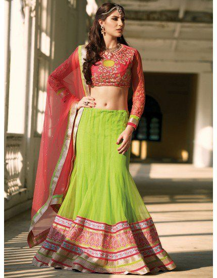 Green Net Lehenga Choli with Resham Embroidery Work