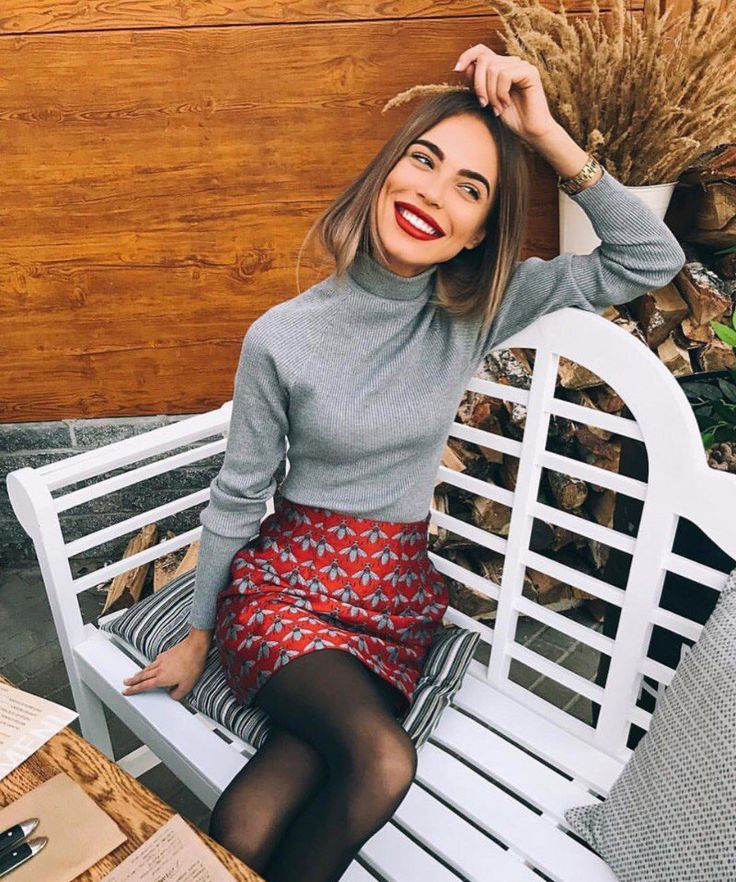Black tights, red printed pencil skirt, gray turtleneck shirt, winter outfit, work outfit