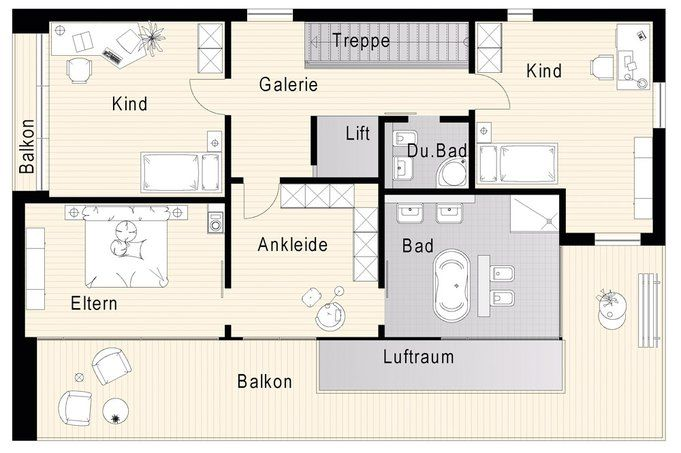 Grundriss einfamilienhaus modern obergeschoss  grundriss haus modern - Google-Suche | Floorplan | Pinterest ...